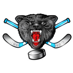Beast wolf face from the front view with hockey puck and crossed stick. Logo for any sport team timberwolf isolated on white