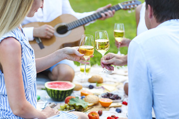 Summer picnic with white wine