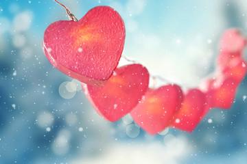 Lichterkette mit Herzen zum Valentinstag