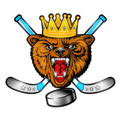 Beast bear from the front view with crown and crossed hockey stick. Logo for any sport team grizzly isolated on white