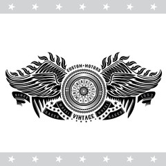 Motorbike wheel in center of chain, wings and ribbons. Vintage motorcycle design isolated on white