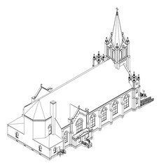 The building of the Catholic church, views from different sides. Three-dimensional illustration on a white background.