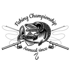 Pike fish bend with crossed fishing rod in engrving style. Logo for fishing, championship and sport club on white