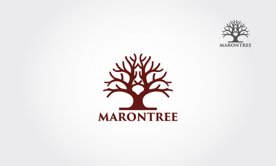 Maron tree logo illustration. Vector silhouette of a tree.