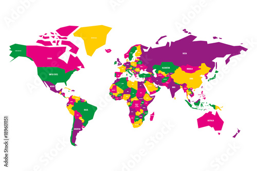 colorful map of world simplified vector map with country name labels