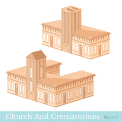 Vector isometric icon set or infographic elements representing buildings of crematorium and church in brown color