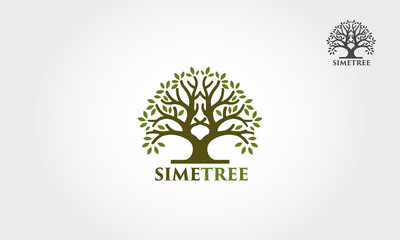 Simetree logo illustration. Vector silhouette of a tree.