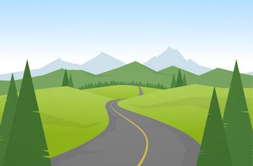 Fototapeta Vector illustration: Cartoon mountains landscape with road. obraz