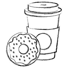 coffee in plastic cup with donut vector illustration design