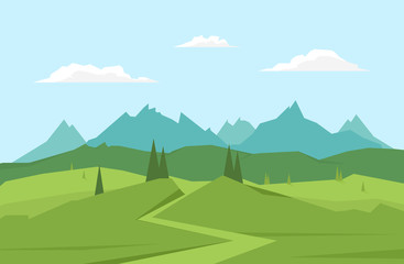 Vector illustration: Mountains landscape with road, pines and hills.