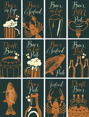 Vector set of business cards for the pub on the subject of beer and snacks from seafood with handwritten inscriptions in retro style on black background.