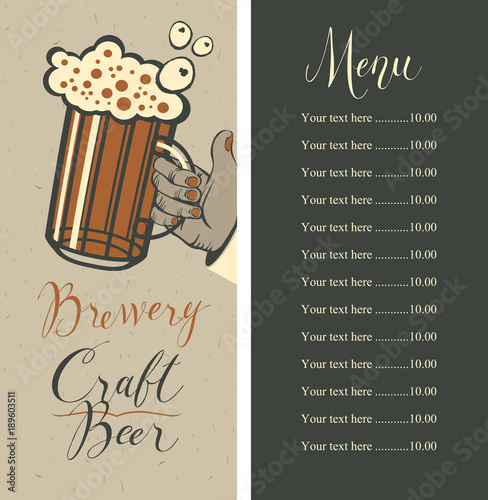 Vector Beer Menu With Price List And Handwritten Inscriptions
