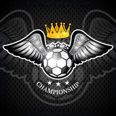 Soccer ball with wings and crown. Vector sport logo for any team and championship