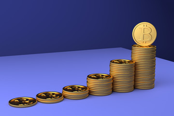 3D Render of heaps of bitcoin coins showing the rise of the crypto currency