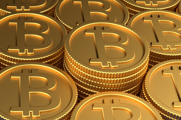 3D render of heaps of bitcoin coins