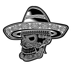 Skull side view with mexican hat and pattern on face symbol of dia de los muertos holiday. Monochrome illustration isolated on white