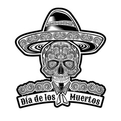Skull front view with mexican hat and pattern on face symbol of Dia de Muertos holiday. Monochrome illustration isolated on white