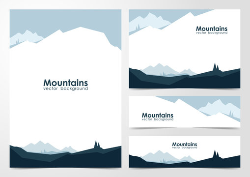 Vector illustration: Set of blank design layout of banners and brochure with  mountains landscape background.
