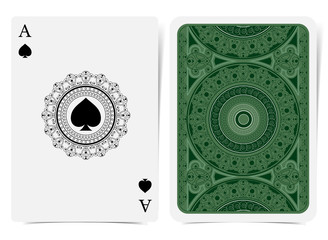 Ace of spades face with spades inside round curly frame and back with geometrical pattern on green suit. Vector card template