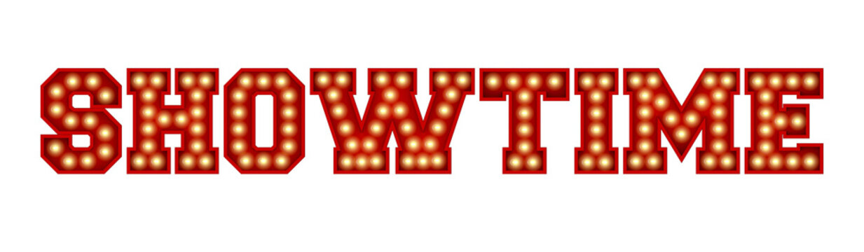 Showtime word made from red vintage lightbulb lettering isolated on a white. 3D Rendering