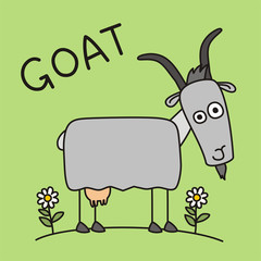 Funny goat in cartoon style