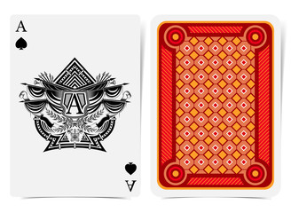 Ace of spades face with heraldic element with vintage weapon and flags in center spades form and back with geometrical red pattern on suit. Vector card template