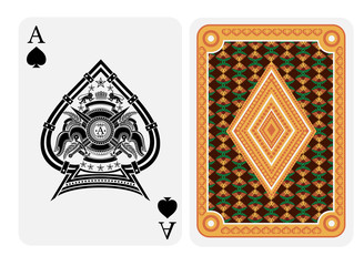 Ace of spades face with heraldic element with crossed swords inside spades form and back with gold yellow flower texture on suit. Vector card template