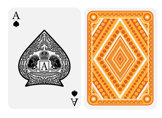 Ace of spades face with crown and two lions with floral pattern inside spades form and back with gold yellow geometrical texture on suit. Vector card template