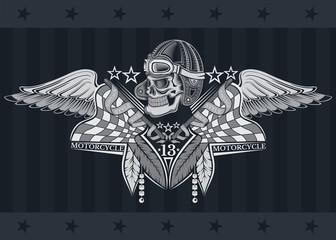 Skull in vintage race hat between crossed flags, wings and indian feather. Vintage motorcycle design on blackboard