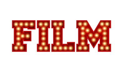 Film word made from red vintage lightbulb lettering isolated on a white. 3D Rendering