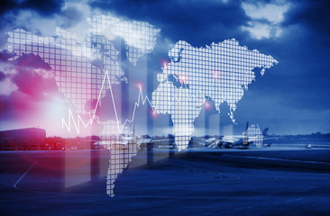 airport view abstract blur background with world map and finance  banking concept with Forex graph