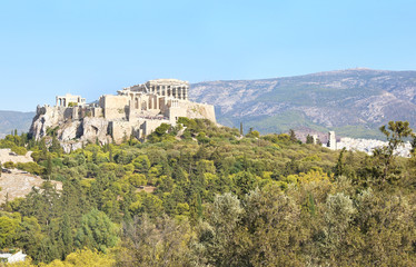 the ancient Parthenon and Acropolis landscape in Athens city Greece