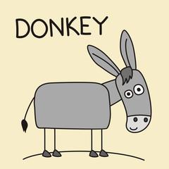 Funny donkey in cartoon style