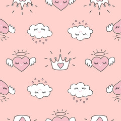Cute seamless pattern with hearts and love doodles