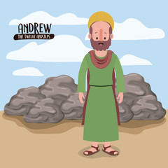 the twelve apostles poster with andrew in scene in desert next to the rocks in colorful silhouette vector illustration