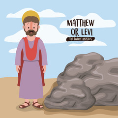 the twelve apostles poster with matthew or levi in scene in desert next to the rocks in colorful silhouette vector illustration