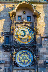 The famous city hall clock in the old town of Prague