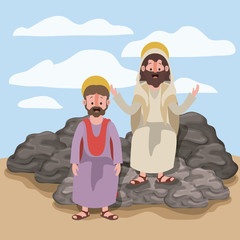 jesus the nazarene and matthew in scene in desert sitting on the rocks in colorful silhouette vector illustration