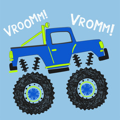 cool cartoon monster truck illustration, vector