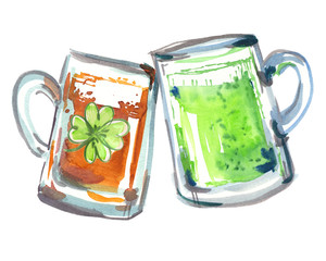 Two St Patrick's themed beers in big mugs painted in watercolor on clean white background