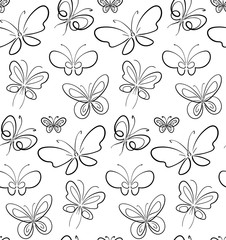 Butterfly set pattern Black on White simbols