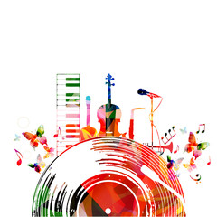Colorful music poster with vinyl record and music instruments. Music background design vector illustration. Colorful piano keyboard, violoncello, guitar, saxophone, trumpet and microphone isolated