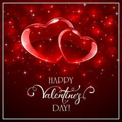 Valentine hearts on red shiny background