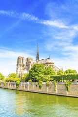 Notre-Dame Cathedral catholic church and Seine river