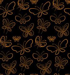 Butterfly set pattern Gold on Black simbols