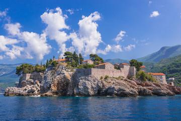 Poster de jardin Ruelle etroite Small Island of Sveti Stefan on the Adriatic Sea in Montenegro