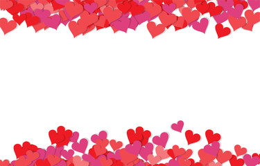 Red and pink hearts background. Valentines Day EPS vector background