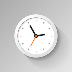 Clock icon in flat style. Minimalistic watch on white background. Business timer. Vector design element for you project