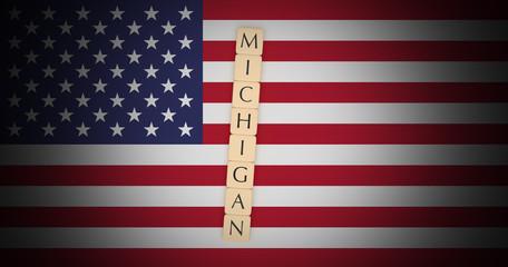 US States Concept: Letter Tiles Michigan On USA Flag, 3d illustration
