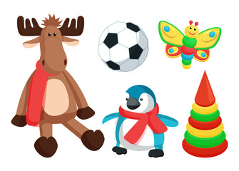 Playthings for Kids from Santa Vector Illustration